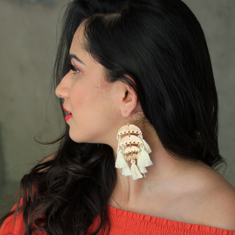 White Weaves - Layered Hook Earrings With White Tassels