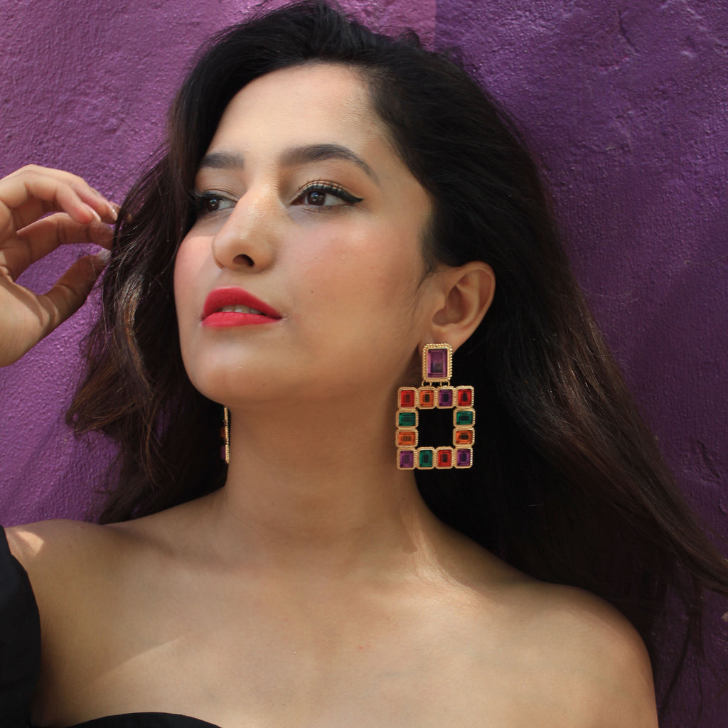 Window To Heaven - Multicoloured Stone Statement Earrings