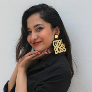 Devoleena Bhattacharjee In Knick Knack Nook Girl Boss Earrings - Quirky Text Acrylic Earrings