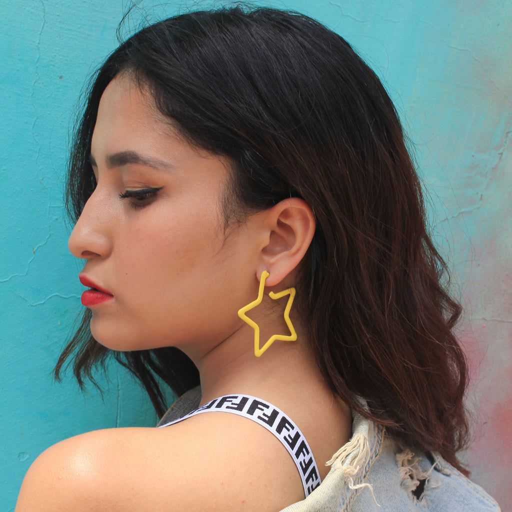 Superstar - Yellow - Quirky Metal Star Earrings