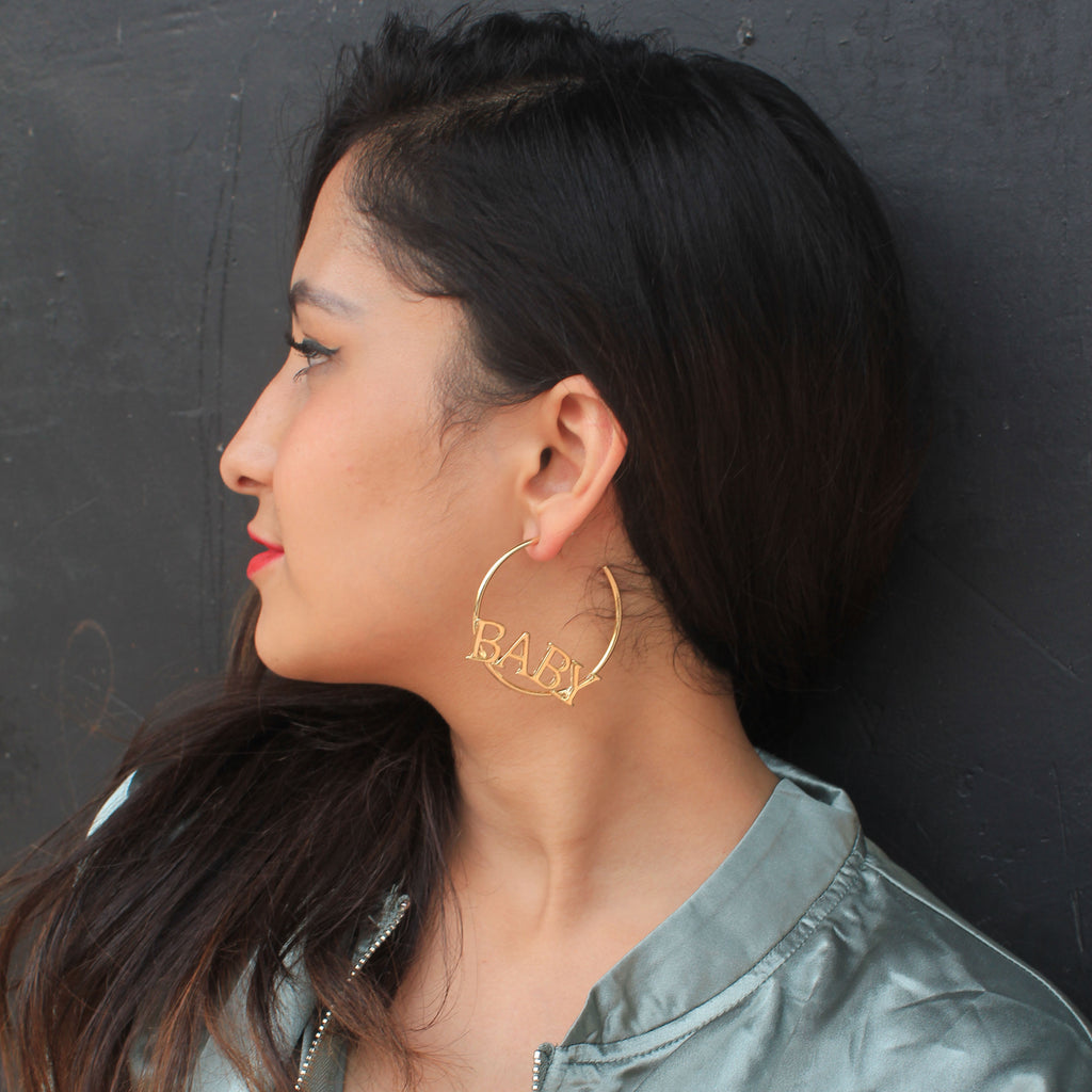 Baby, Baby! - Golden Metal Circular Earrings