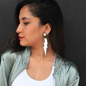 Nitibha Kaul In Knick Knack Nook White Lightening Earrings - Quirky Acrylic Thunder Earrings