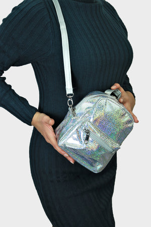Starburst - Silver 2-in-1 Bag - Mini Bagpack and Sling Bag