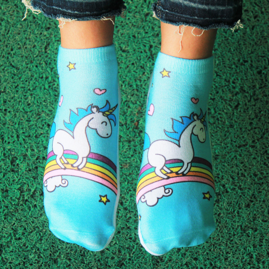Over the Rainbow - printed ankle length socks