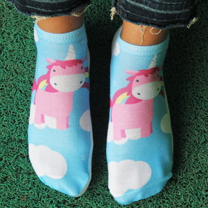Fluffy Unicorn - Printed Ankle Length Socks