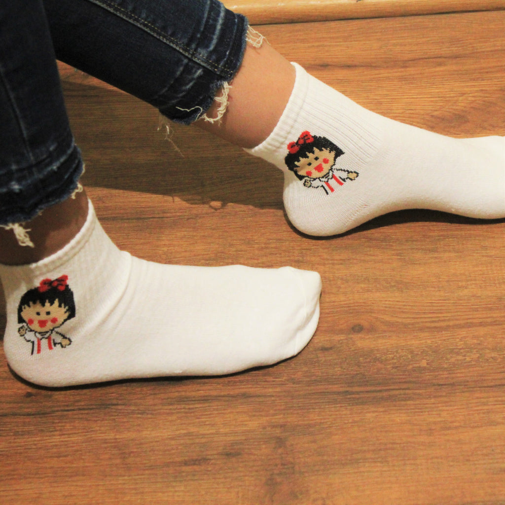 Lulu Wave - printed ankle length socks