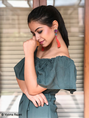 Ashwini Dixit In Knick Knack Nook Plume & Feather Earrings - Scarlet - Multicoloured Stone and Red Tassel Earrings