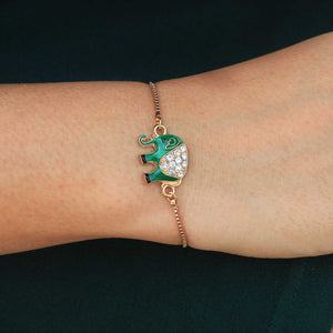 Jewelled Jumbo - Dainty Elephant Golden Chain Bracelet
