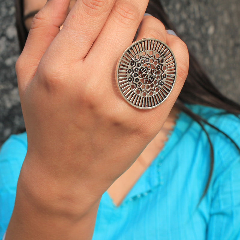 Antriksh - Round Detailed Artificial Silver Statement Ring