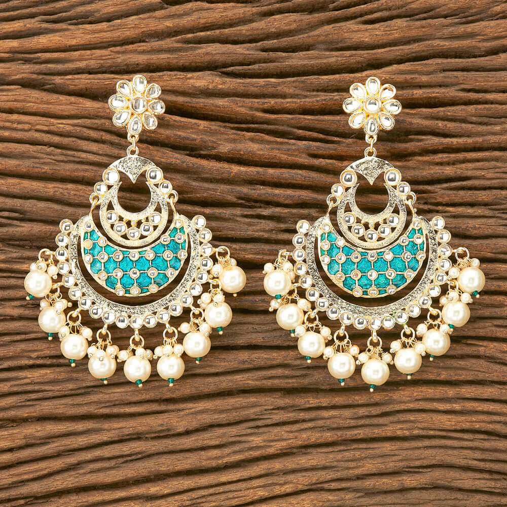 Kalyani Earrings -  Heavy Beaded Chanda Indian Dangle Earrings