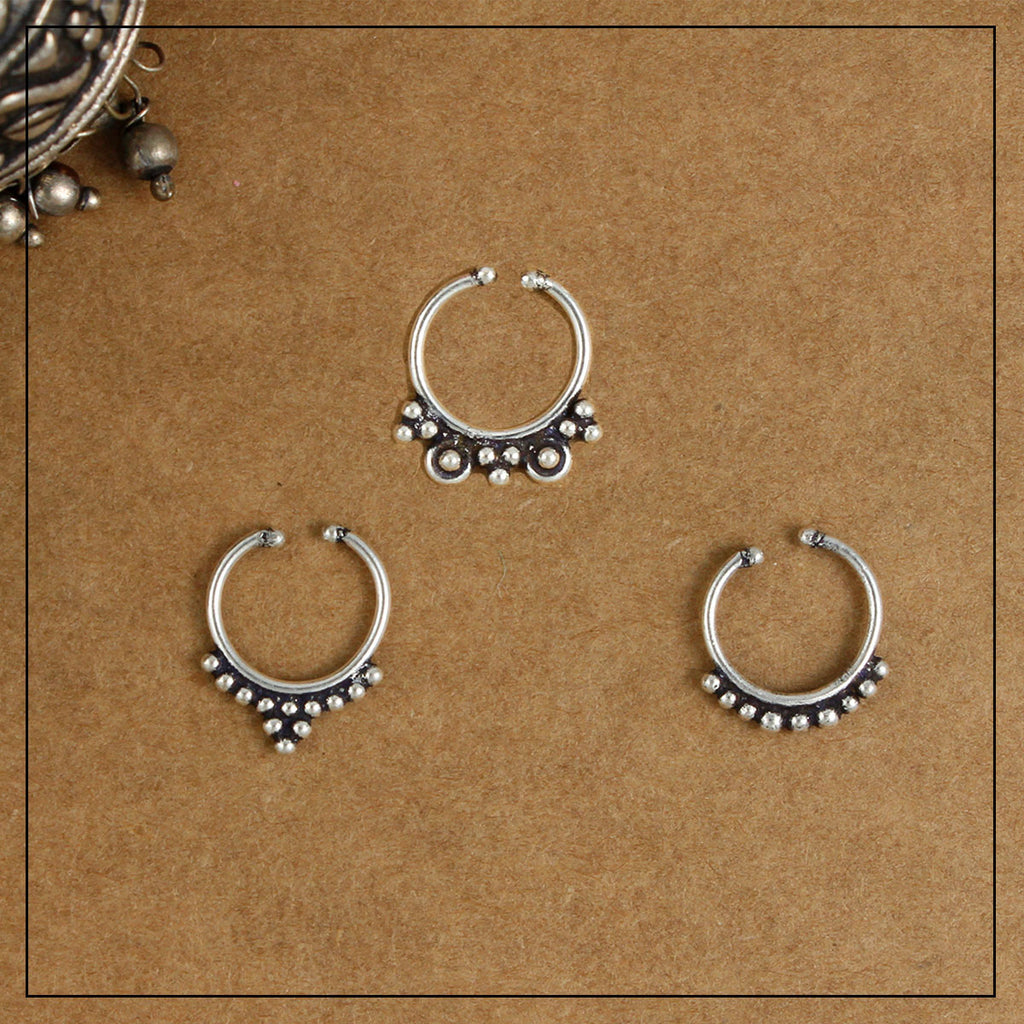 Bindiya Ishani & Naina Silver Septum Ring Combo Pack of Three