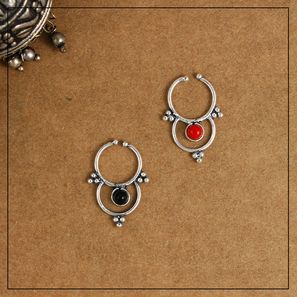 Sri Black & Red Silver Septum Ring Combo Pack of Two