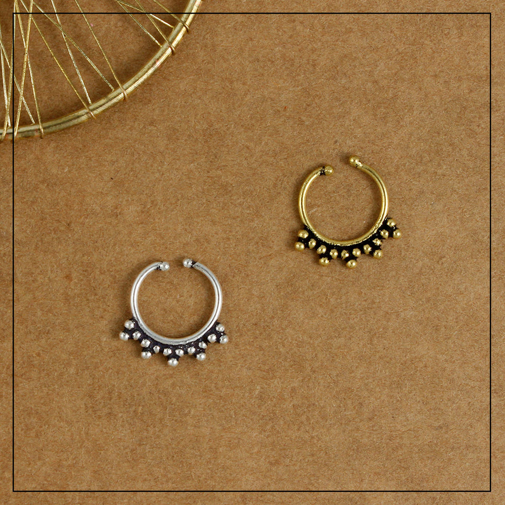 Chakra Septum Ring Gold & Silver Combo Pack of Two