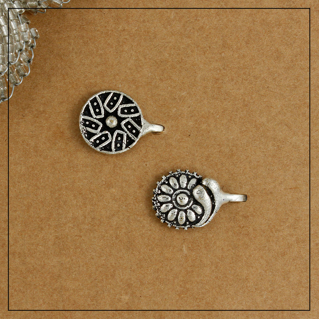 Charkha & Bageecha Silver Clip-on Nosepin Combo Pack of Two