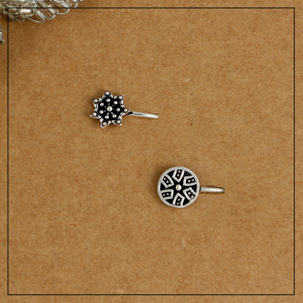Charkha Mini & Taarika Silver Clip-on Nosepin Combo Pack of Two
