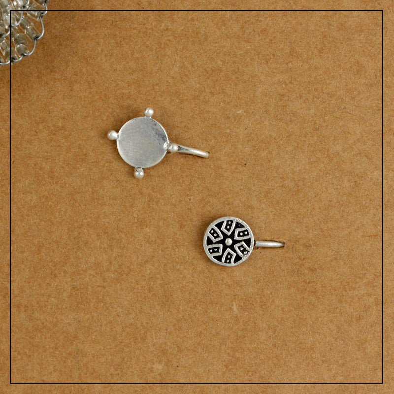 Charkha Mini & Chhaya Silver Clip-on Nosepin Combo Pack of Two