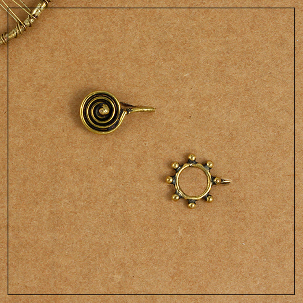 Spiral & Mandala Gold Clip-on Nosepin Combo Pack of Two
