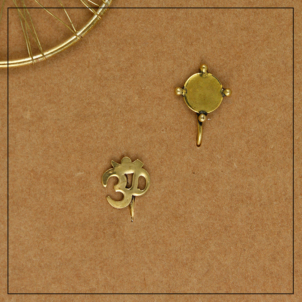 Om & Chhaya Gold Clip-on Nosepin Combo Pack of Two