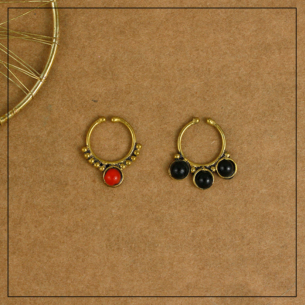 Jugnoo & Kaali Black & Red Gold Septum Ring Combo Pack of Two