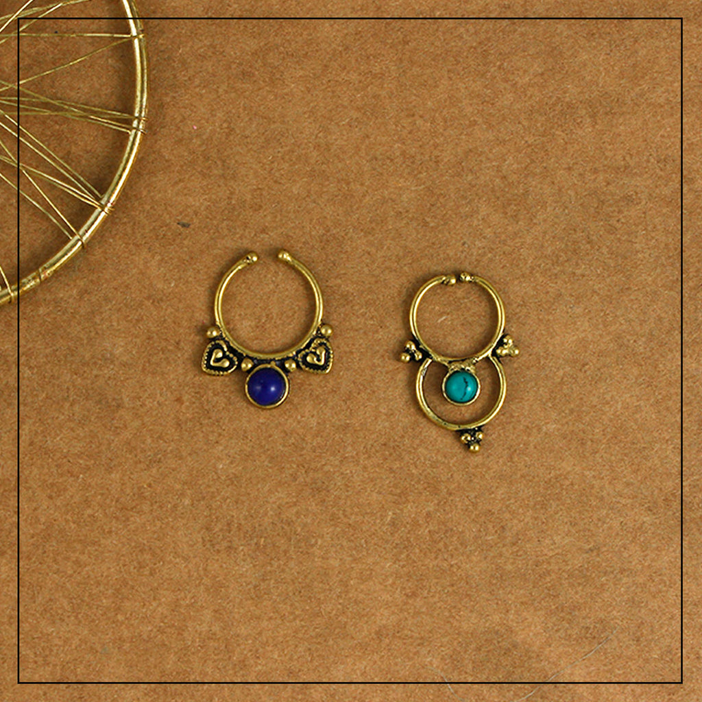 Sonal & Sri Blue & Gold Septum Ring Combo Pack of Two