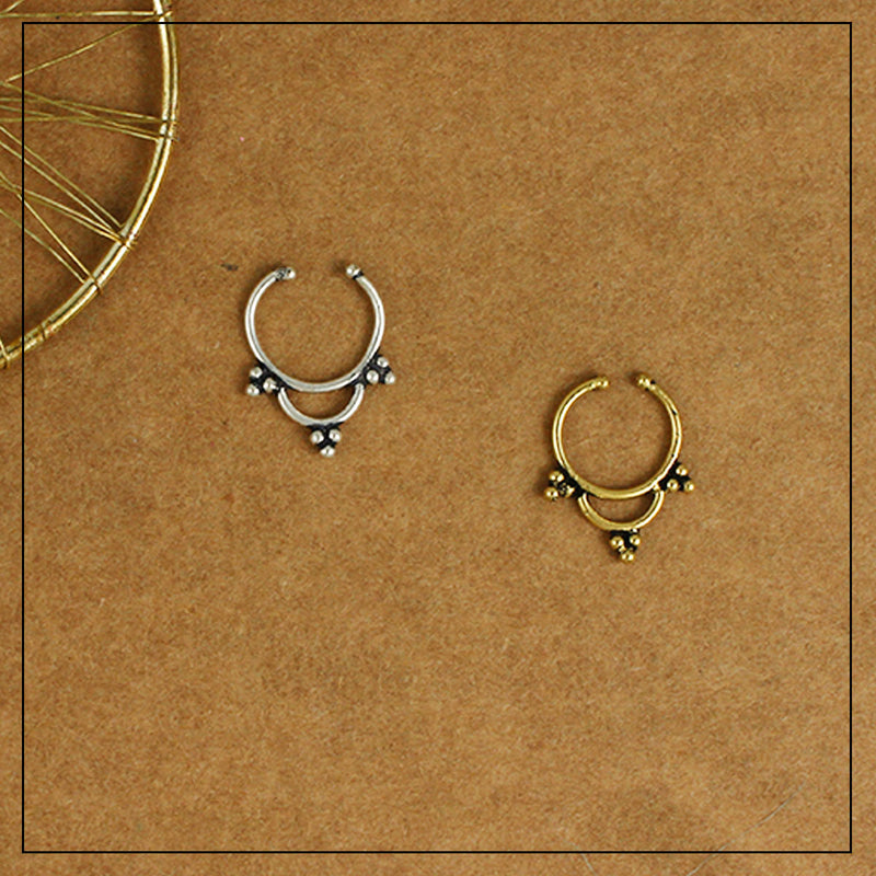 Triveni Septum Ring Gold & Silver Combo Pack of Two