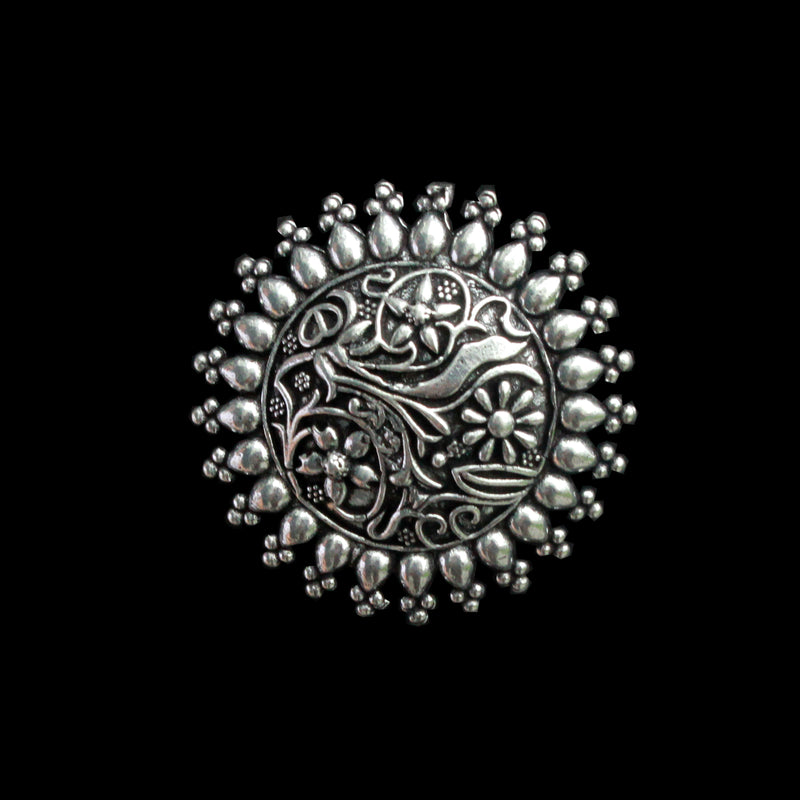 Bela Ring - Tribal Floral German Silver Dome Ring