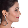 Monochrome Baguette - Stone Studded Elongated Hoop Earrings