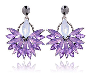 Glow - Purple - Intricate Delicate Crystal Stud Earrings