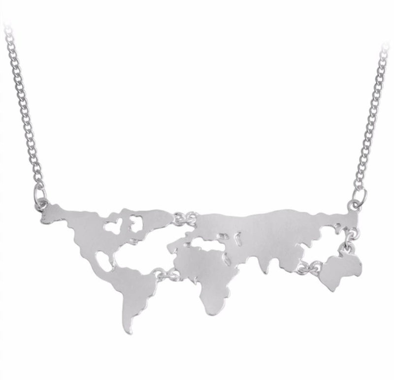 Globetrotter - Silver - Miniature World Map Dainty Necklace