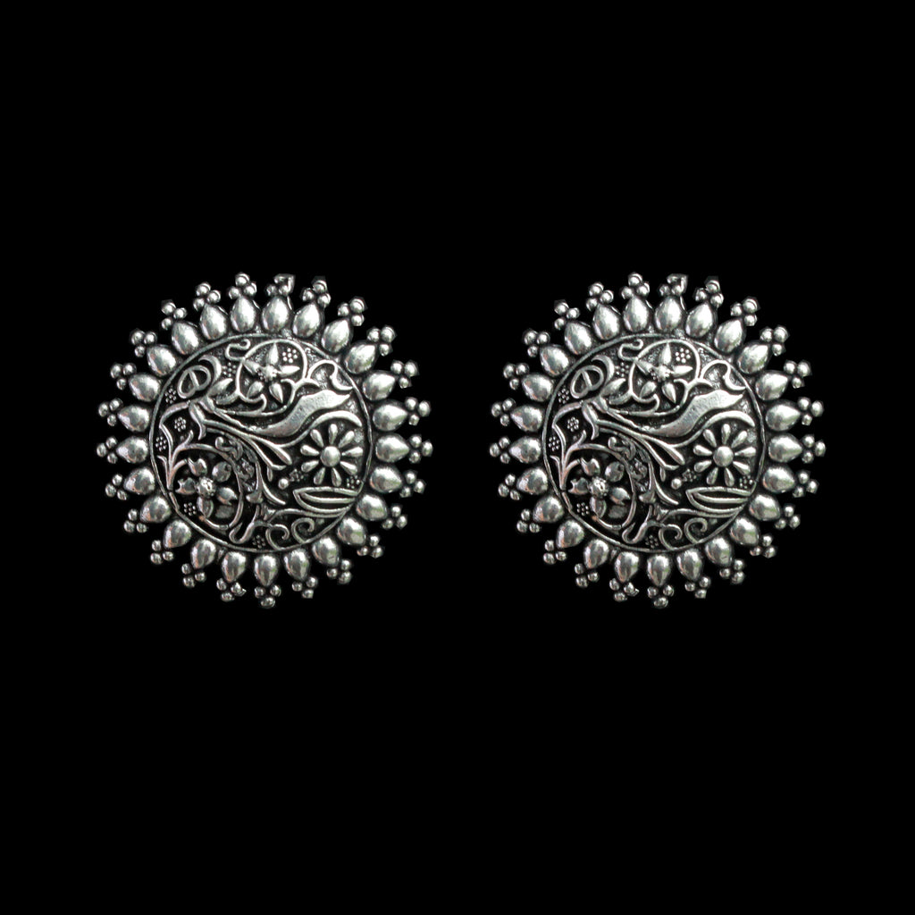 Bela Earrings - Floral German Silver Earrings