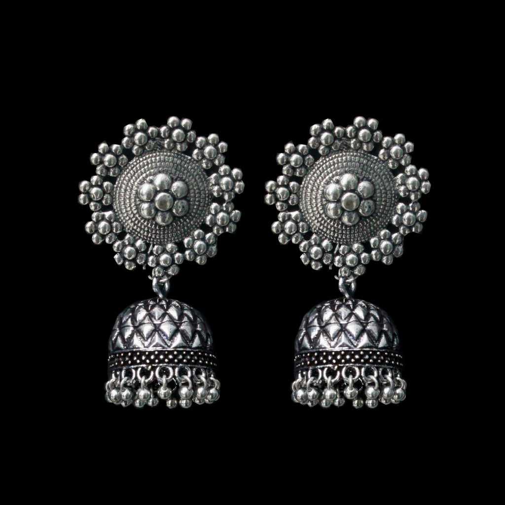 Garud Earrings - German Silver Floral Jhumkas