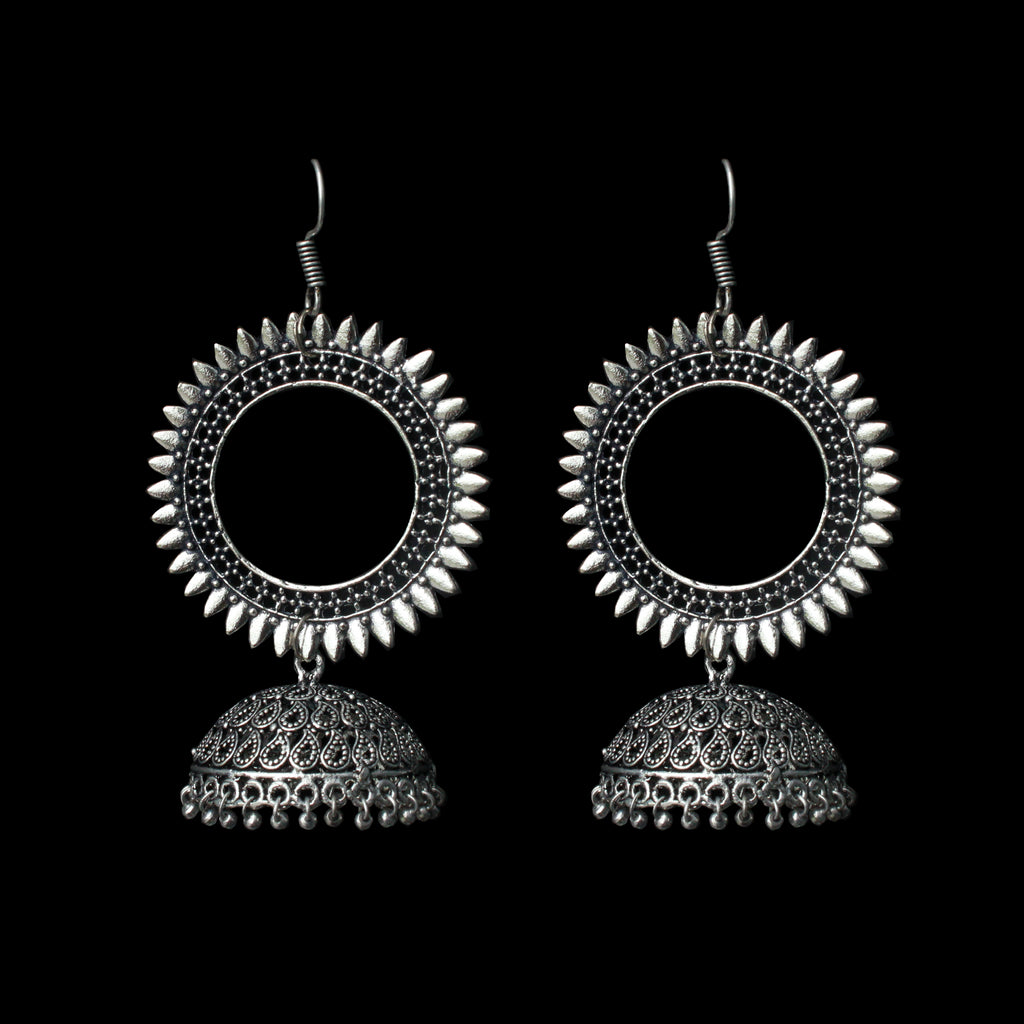 Kirti Earrings - German Silver Sun Jhumkas