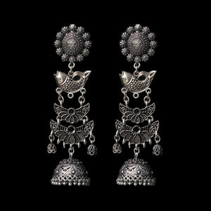 Matsya Earrings - German Silver Fish Motif Long Dangle Jhumkas
