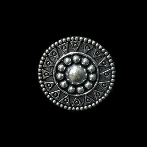 Pracheen Ring - Large German Silver Intricate Round Ring