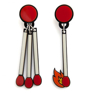 Light A Fire - Quirky Acrylic Matchstick Earrings