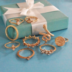 Lisbon Set of Rings - Golden Studded Ring Set