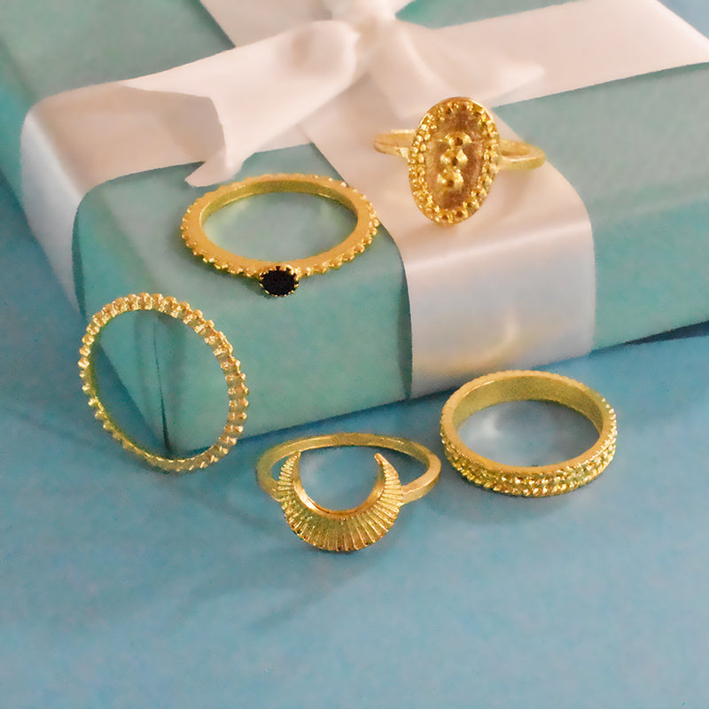 London Set of Rings - Golden Chic Ring Set