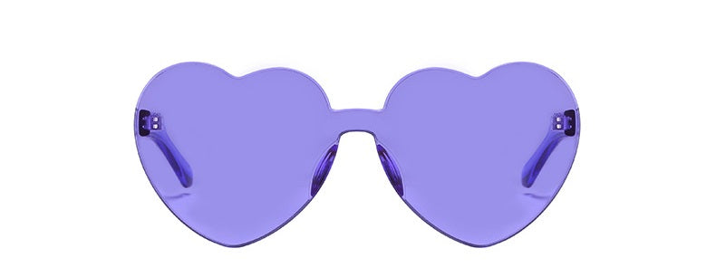 Love Bug - Purple - Bright Coloured Translucent Heart Sunglasses