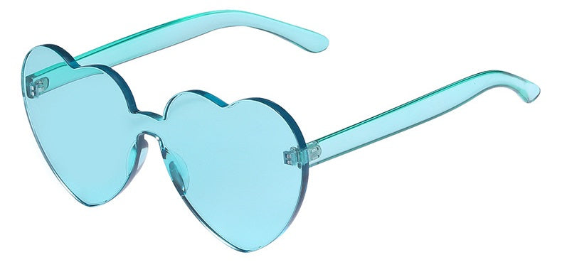 Love Bug - Cyan - Bright Coloured Translucent Heart Sunglasses
