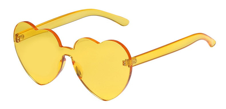 Love Bug - Yellow - Bright Coloured Translucent Heart Sunglasses