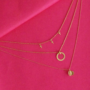 Mary Poppins Layered Necklace - Golden Metal Layered Necklace with Tiny Charms