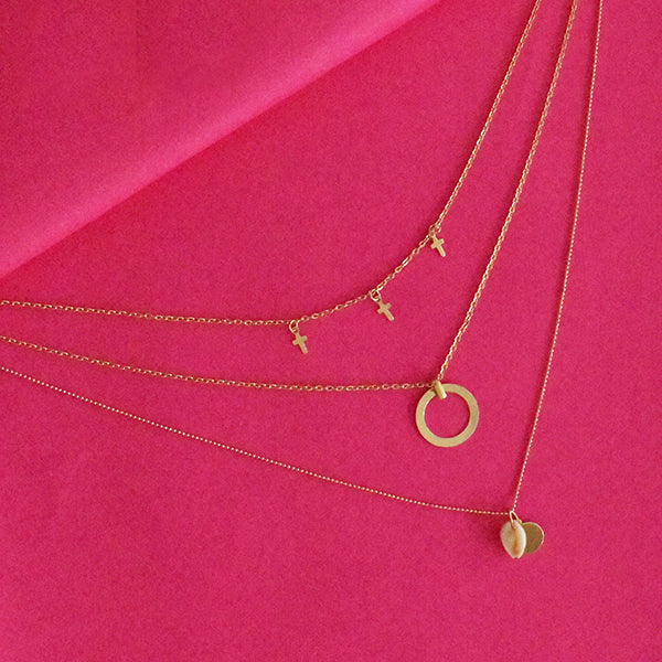 Mary Poppins Layered Necklace - Dainty Golden Metal Layered Necklace with Tiny Charms