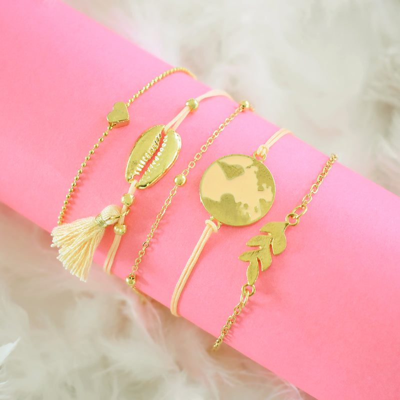 Matilda Bracelet Stack - Golden Metal Bracelet Set