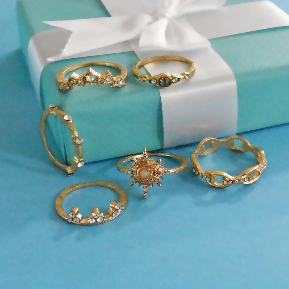 Milan Set of Rings - Dainty Golden Stone Studded Ring Set