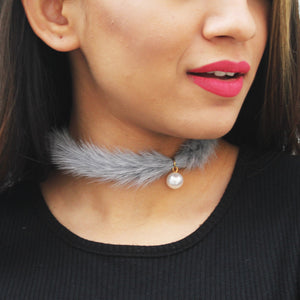 Mink & Pearl - Grey - Fur Choker With Pearl
