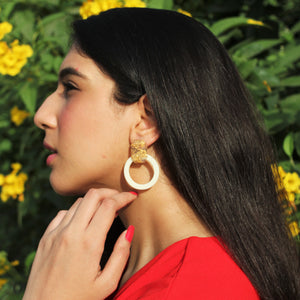 Miranda - Cream Resil Earrings with Gold Speckled Stud