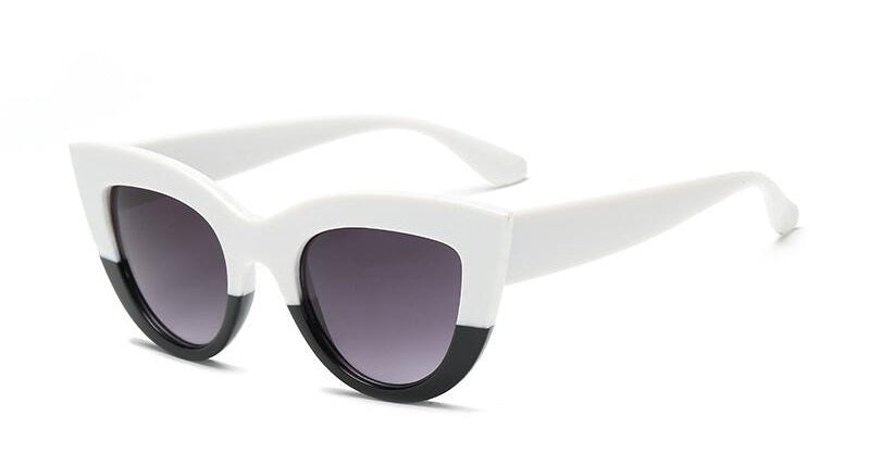 Monochrome Affair - Classic Black & White Cat-Eye Sunglasses