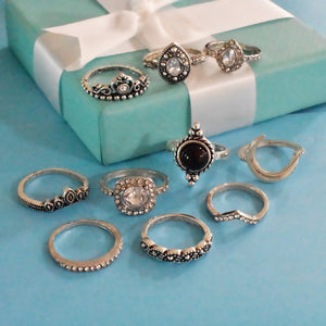 Naples Set of Rings - Studded Silver Black Stone Stack Of Rings