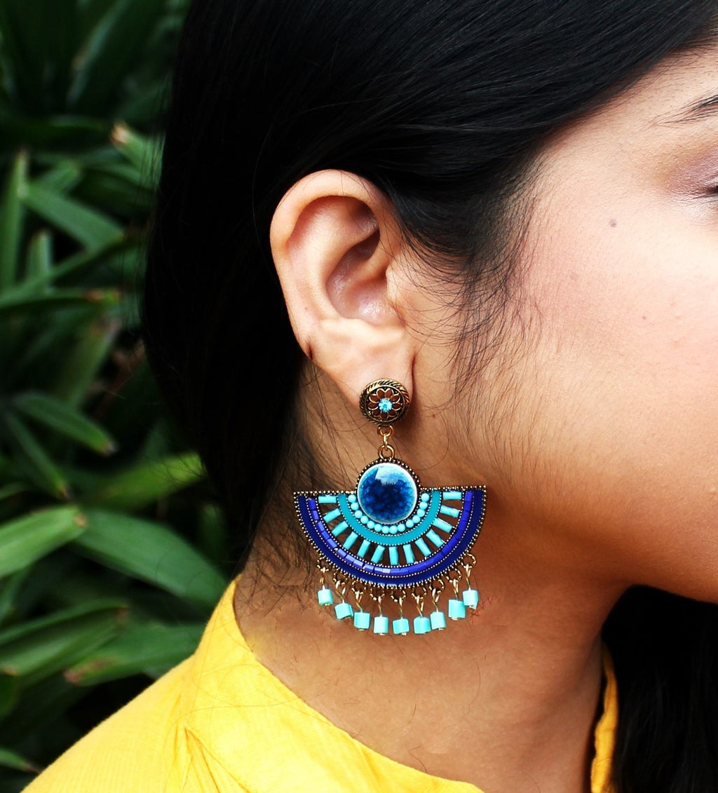 Neelima - Blue Painted Indo Western Earrings