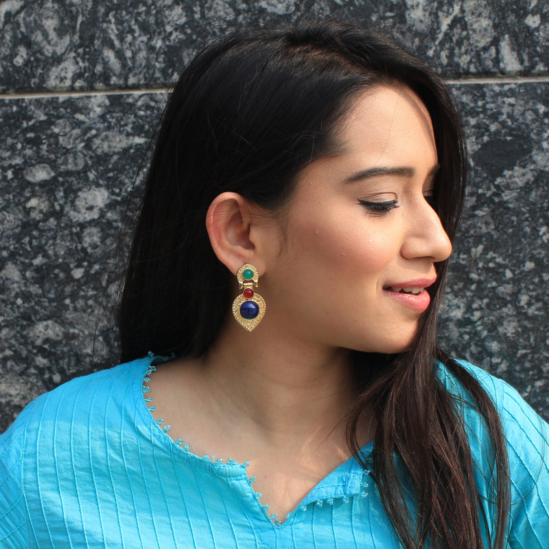 Pakeezah - Blue Stone And Golden Metal Earrings